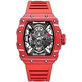 FEICE Men's Automatic Wrist Watch Sapphire Crystal Japanese Movement Skeleton Automatic Mechanical Watch Waterproof Sports Wristwatch - FM602 (RRED)