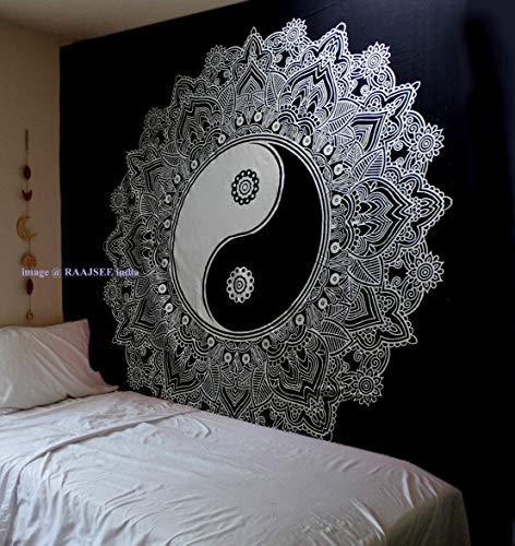 raajsee Indisch Wandteppich Mandala Baumwolle/Indien Wandbehang Schwarz Weiß Lotus Mandala groß Tapisserie/Hippie Bohemian Ombre Wand Tuch/Yoga Meditation Rugs (Yin Yang, 210 x 220 cms Queen)