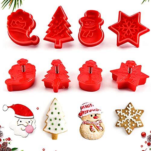 WELLXUNK® 4tlg Ausstechformen Weihnachten Ausstecher Silikon Schneeflocken Weihnachtsmann Tannenbaum Schneemann für Keks Plätzchen Fondant Tortendekoration