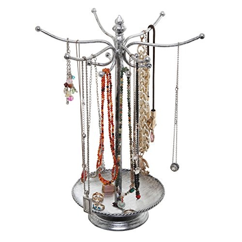 MyGift Victorian Style Silver Metal Bracelet Necklace Jewelry Organizer Tree Hooks Rack Stand w/Ring Dish Tray