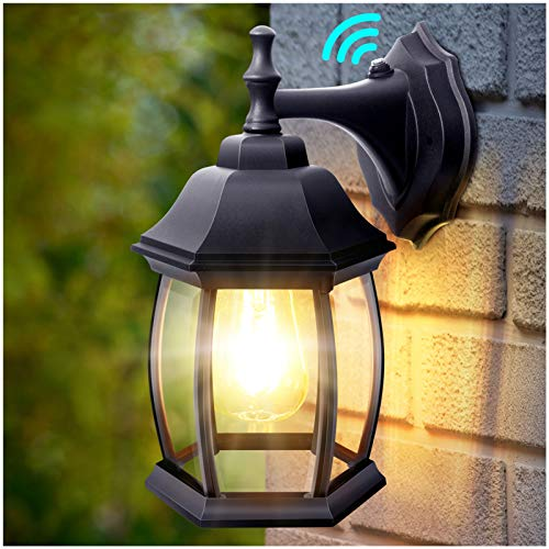 DenicMic Dusk to Dawn Sensor Outdoor Wall Light, Waterproof Porch Light Fixtures Wall Mount, Wall Sconce Exterior Wall Lamp with Clear Glass for Garage, Front Door, Porch (E26 Bulb Included)