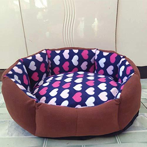 Cama para Mascotas, con una Alfombra Suave para Mascotas, Cama para Gatos Perros, Cama Suave de Felpa de tamaño Mediano -Corazón Azul marrón_L-40x50cm