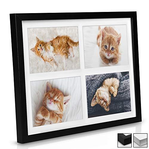 BOMOE Multi Cadre Photo pêle-mêle Mural - pour 4 Photos (4X 10x15cm) - Dimension : 37,5x30x2,5cm - Noir - Décoration Murale