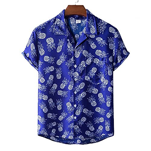 Henley Camisa Hombre Verano Moda Estampado Regular Fit Modernos Hombre Deportiva Camisa Cuello V Manga Corta Hawaiana Camisa Suelta Causal Secado Rápido Hombre Playa Shirt A-XH34 3XL