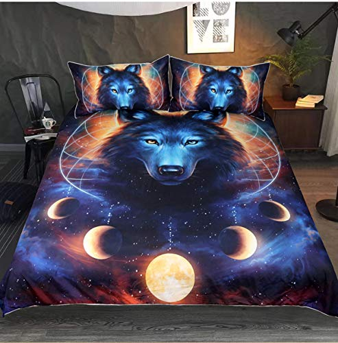 USTIDE 3D Galaxy Wolf Print Duvet Cover Lightweight Microfiber Soft Quilt Cover Premium Quality Bedding Set Double Size 3 Pieces