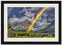 虹、森、山 自然風景 壁掛け黒色木製フレーム装飾画 絵画 ポスター 壁画(30x40cm)