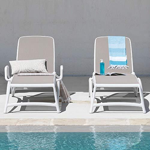 Gartenliege / Sonnenliege Atlantico Kunststoff grau-braun / grau-braun