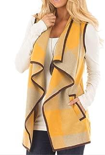 neveraway Womens Plaid Open Front Sleeveless Cardigan Lapel Pockets Vest
