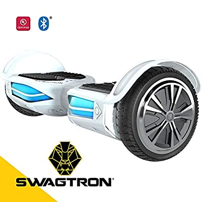 Swagtron T380 Hoverboard - Bluetooth Speaker & Lights, Personalize Experience w/Android/iOS App (White)