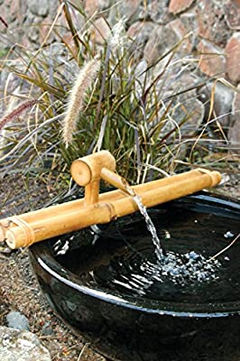 """Bamboo Accents Low-Profile Deck Water Fountain, Indoor/Outdoor Bamboo Fountain with Pump, 18"""" Wide Classic Nozzle, Split Resistant, DIY Zen Fountain"""