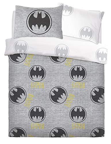 Sleepdown Batman - Set di biancheria da letto matrimoniale, in microfibra, colore: Grigio
