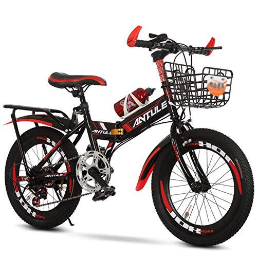 Plegable Bicicleta Infantil,Plegable Velocidad Variable MTB con Botella De Agua Estante Trasero,Bicicleta...