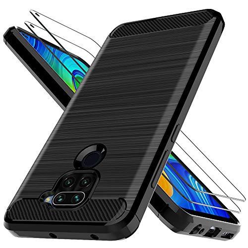 LK Funda para Xiaomi Redmi Note 9,[Anti-Huella Digital][Slim Fit] Carcasa Protectora Cepillada TPU Suave Cover con Vidrio Templado Screen Protector[2 Pack] para Xiaomi Redmi Note 9 - Negro