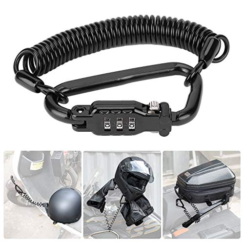 Motorcycle Helmet Lock Combination Lock with Cable for Motorbike Scooter Street bike, Secures Helmet Jacket and Bag