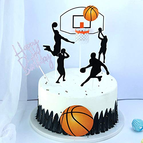 SHAMI Basketball theme cake topper for Boy birthday CupCake Topper Party Decorations Happy Father Birthday Supplies Decorations Man Birthday(Silver))