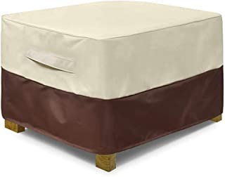"""Sqodok Patio Ottoman Cover Waterproof, Square Outdoor Side Table Furniture Covers with Handle Windproof Straps, 34"""" Lx 24""""..."""