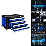 EBERTH Werkzeugkiste blau inkl. Werkzeug (4 kugelgelagerte Schubfächer, 134 tlg. Werkzeugset in Ablage-Inlets, abschließbar, pulverbeschichtet)