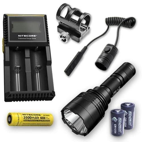 Nitecore Paquete P30 1000 LM Linterna LED + 1 NL1835, RSW1, GM02, D2 Cargador, y 2 baterías Eco-Sensa CR123A