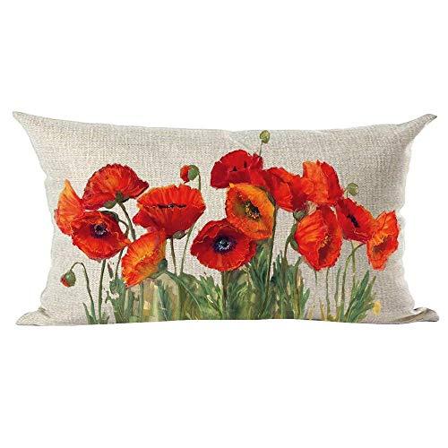 Mesllings - Federa per cuscino decorativo, dipinto a mano, motivo: fiori di papavero rosso, arancione, blu, foglie verdi, decorazione per la casa, il soggiorno, il letto, il divano, l'auto, in cotone e lino, rettangolare, 30,5 x 50,8 cm