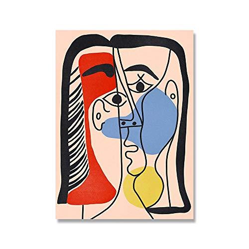 Pintor famoso, pintura abstracta, minimalismo, pster, dibujo lineal, pintura decorativa sin marco para sala de estar C 20x30cm