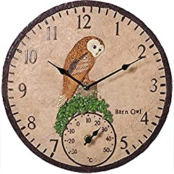 Wei-yu 12 Inch Garden Clock,Outdoor Clock Garden Retro Resin Birds Wall Clock with Thermometer for Garden/Patio/Yard
