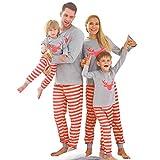 Zoerea Pigiama Famiglia Indumenti da Notte Mamma papà Neonato Bambino Bebè Pigiami Set Manica Lunga con Stampa Tops + Pantaloni Due Pezzi Regalo di Natale