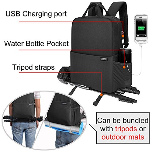 CADeN Travel DSLR SLR Camera Backpack Waterproof Anti-Theft Camera Bag with USB...