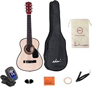 30 Inch Acoustic Guitar Junior Acoustic Guitar Starer Kit with Carrying Bag, Picks, E-Tuner, Strap, Natural