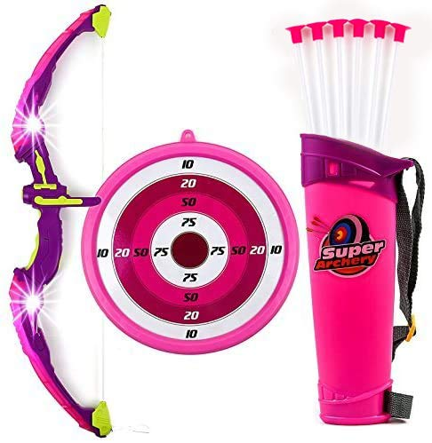 Toysery Bow and Arrow for Kids Set with LED Flashing Lights | Archery Set | Arrow Holder Target and Quiver Outdoor Toys | Pink Light Up Function | Hunting Series Toy for Boys and Girls