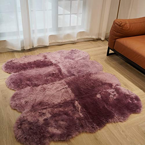 Yilong Australian Sheepskin Rug 100% Natural Fluffy Fur Rug Sofa Mat Couch Mat Living Room Rug Bedroom Rug , Approx. 5.6ftx4.6ft (Purple)