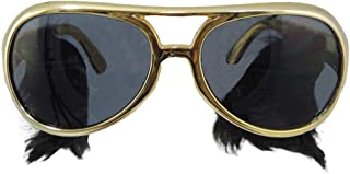 Gold Frame Classic Elvis Costume Sunglasses w/ Sideburns,One Size