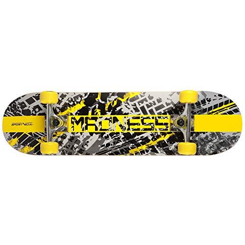Skateboard Erwachsene mit Kugellager - Skateboard Kinder ab 8 Jahre. Aus Holz Gemacht. Moderne Grafiken. Sportgeräte für Skatepark und für Tricks auf der Rampe (Gelb)