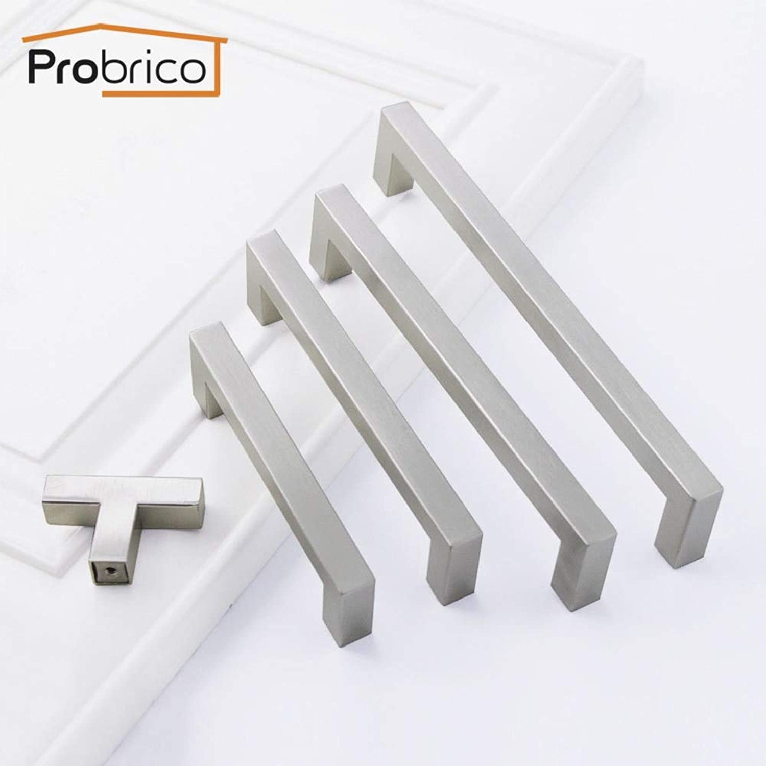 ff550357b1 Probrico Square T Bar Kitchen Door Cabinet knobs and Handles for Furniture  Bathroom Wardrobe Stainless Steel