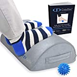 CozyDoc Ergonomic Foot Rest Cushion Under Desk + Massage Ball | The Most Comfortable Footrest for Home, Office, Travel | Doctor Designed Orthopedic Foam for Feet, Knee, Back Pain ReliefGray