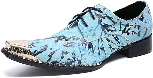 HMNS zapatos hombres zapatos de Cordones zapatos de Cuero zapatos de Vestir de Uniforme Vaquero en Punta de Metal con Punta Elegante Fiesta de Noche Boda azul Tamaño 39 a 46