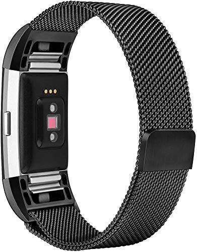 Pulseiras unissex para Fitbit Charge 2 - Pulseira de substituição - Nandos-Store (Preto aço)