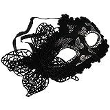 ACAMPTAR 黒のバタフライの装飾 女性のセクシーなベネチアンホロウマスカレードアイフェースマスク パーティー ダンスパーティー ハロウィンの為