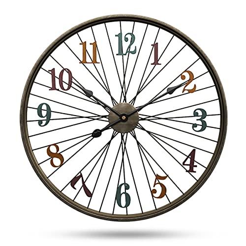 ABJING Grande Reloj de Pared de Metal, Silencio Sin tictac, Funcionamiento con Bateria Art Decora Reloj de Pared de 60 cm, para Cocina Sala de Estar Dormitorio Oficina(Size:60cm)