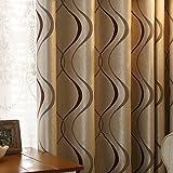 adaada 2er-Set Moderne Art Geometrische Vorhänge Wohnzimmer Vorhänge (245 * 135cm, Braun)