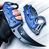 Snake Eye Tactical Everyday Carry Karambit Style Ultra Smooth One Hand Opening Folding Pocket Knife - Ideal for Recreational Work Hiking Camping (Blue)