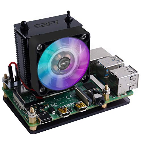 GeeekPi Ice Tower CPU Cooling Fan Ice Tower Fan para Raspberry Pi 4 Modelo B y Raspberry Pi 3B + y Raspberry Pi 3 Modelo B (Negro)
