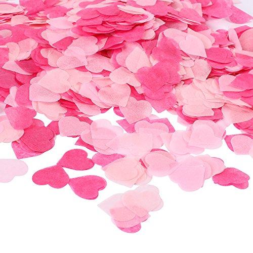 Whaline 6000 Stück Konfetti Rosa Herzen konfetti, Tissue Confetti Herz für Hochzeit Geburtstag Valentinstag Party Baby Duschen, 1Zoll