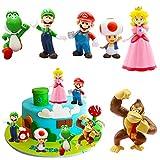 Set Super Mario Decoración de Fiesta - Figuras de Mario y Luigi Figuras de acción de Yoshi y Mario Bros Figuras de PVC de Mario Decoración de pasteles 6pcs