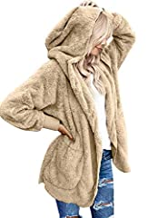 Size Attention: This fleece cardigan is true to size, please order your normal size, if you want to be more baggy, 1 size up suggested. There are 2 front pockets on the side which can keep your hands warm in the cold days, open front design, no zippe...