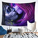 80X60 inch Day of Dead Lover Kiss Tapestry Wall Hanging Art Banner Dia De Muertos Home Decoration for Bedroom Living Room Beach Coverlet Tablecloth