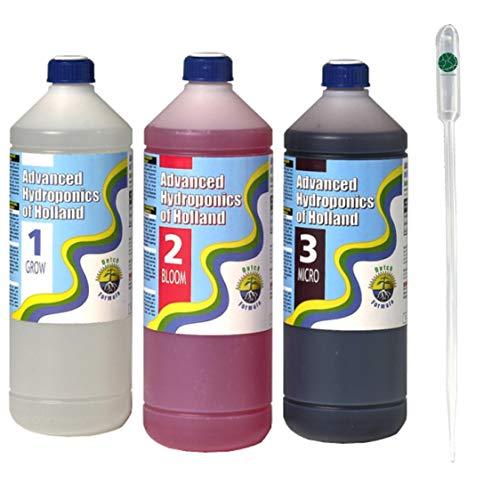 IVORYS-GARDEN Advanced Hydroponics Dutch-Formula Starter Set Kit 3 x 0,5-Liter (Grow + Micro + Bloom) + Gratis Pipette 3-ml Hydro Flüssig-Dünger für Hydroponische-Systeme Fertilizer for Plants