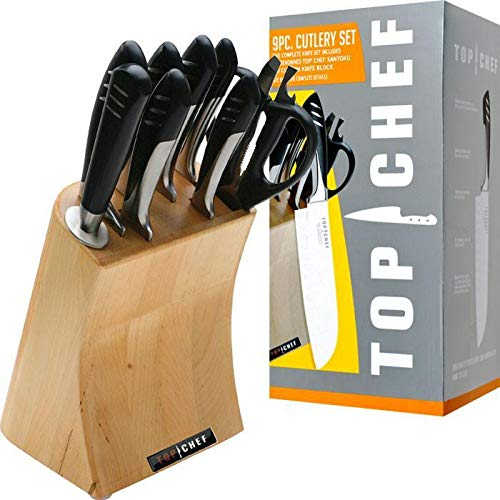 Trademark Commerce 80-TC04 Top Chef Full Stainless Steel Knife Set - 9 Pieces - Best Price Most Popular New Brand Great Reviews Low Priced Big Savings Gift Present Men Women Ki