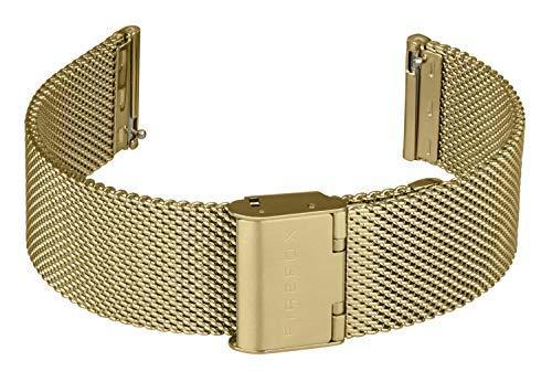 FIREFOX Mesh Ersatz- Uhrenarmband Milanaise Edelstahl gelbvergoldet Breite 20mm