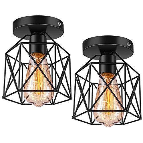 Kaxofang Luz de Techo de Montaje Semi Empotrado E26 Retro Negro LáMpara de Techo Industrial para IluminacióN de Cocina de Porche Paquete de 2