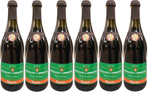 Lambrusco rosso dolce Riunite grünes Etikett DOC (6 X 0,75 L) - Roter Süßer Perlwein 7,5% Vol.